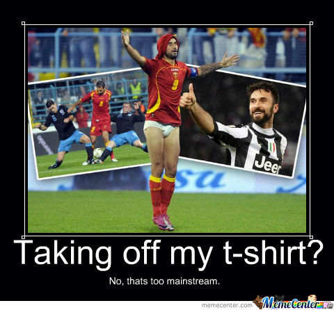 Mirko Vucinic, Taking Of T-Shirt Is Too Mainstream