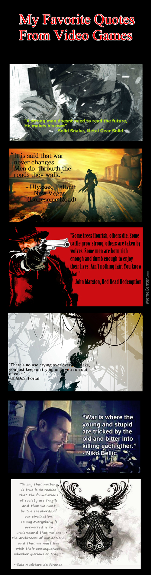 My Favorite Quotes From Video Games