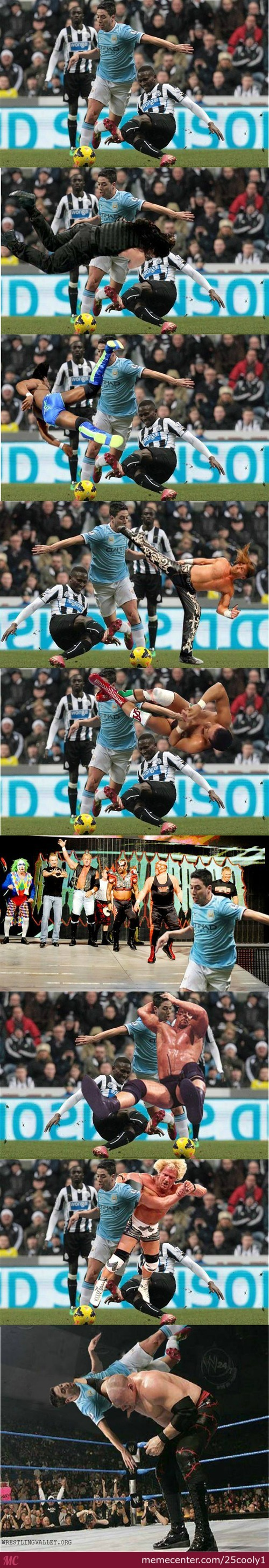 Nasri Getting Attacked By Wrestlers