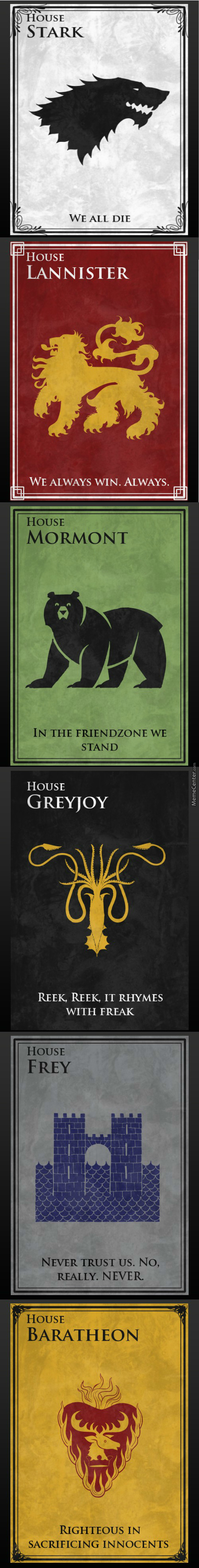 New Game Of Thrones Houses  Mottos