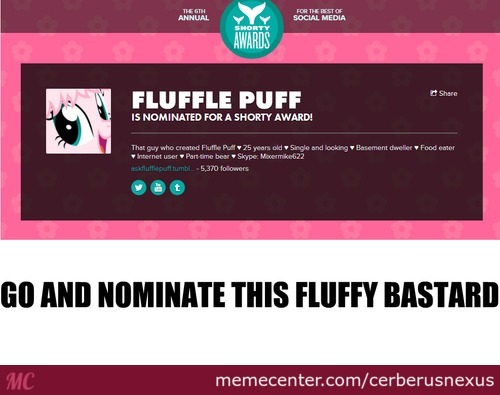 Nominate Fluffle Puff For Shorty Awards