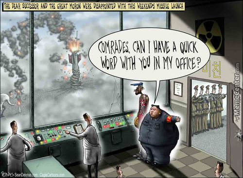 #north Korea, Kim Jong-Un, #sean Delonas,  Delonas, Seandelonas.com, Missile, War, Cartoon, Funny, Satire, Humor,
