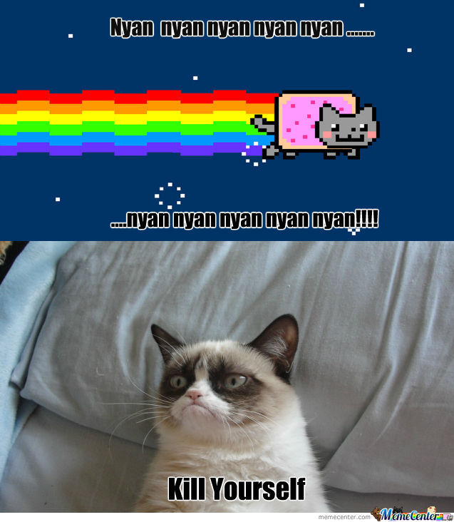 nyan cat and grumpy cat meet_o_959821 nyan cat and grumpy cat meet by scottygirl2711 meme center