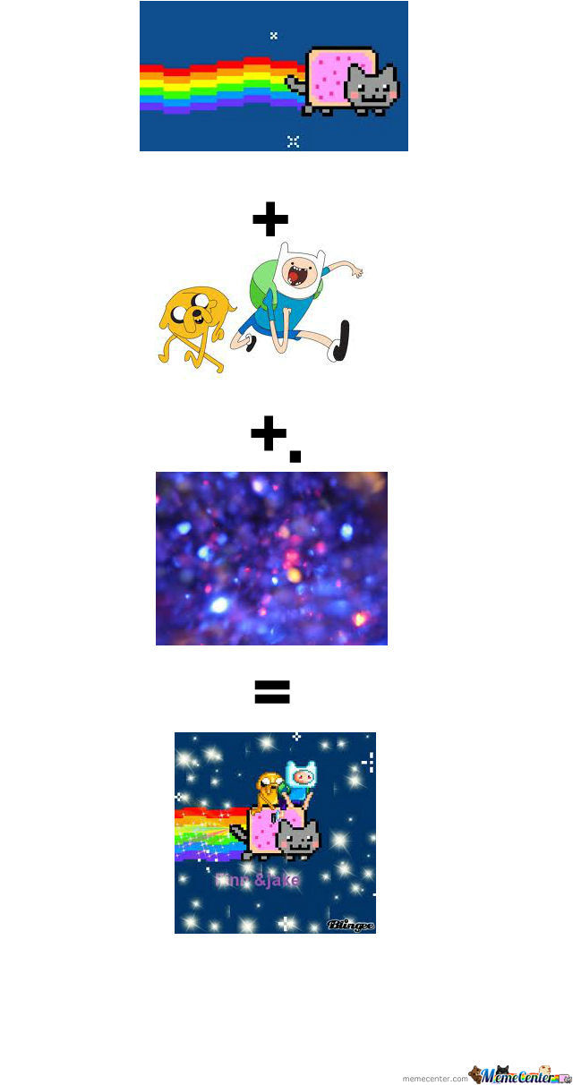 Nyan Cat + Finn And Jake + Sparkles=