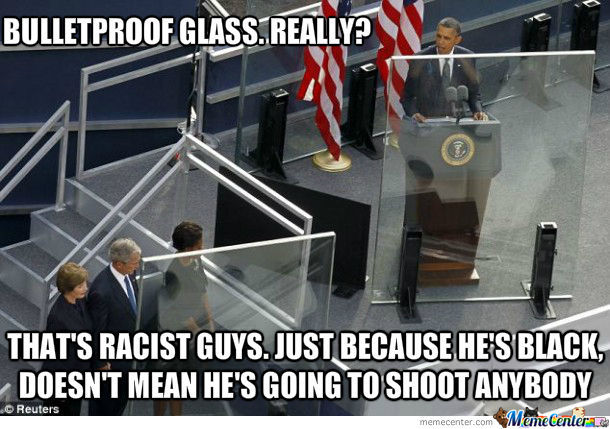 Obama Behind Bulletproof Glass