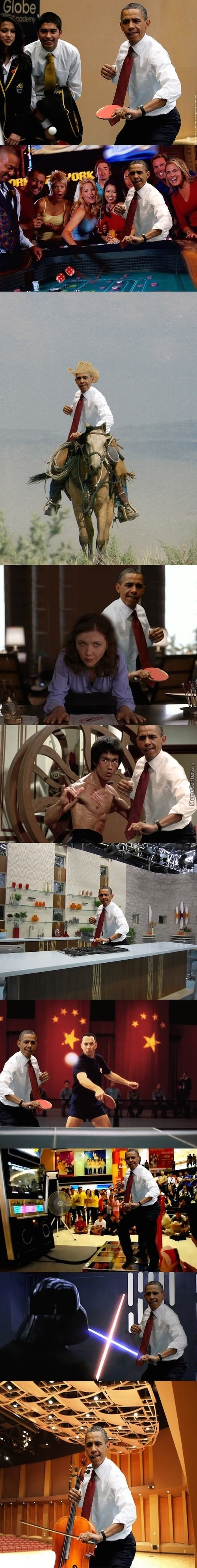Obama Playing Table Tennis...