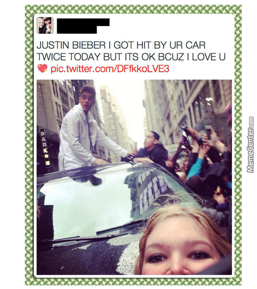 Omgz Justin Bieber Hit Me With A Car!