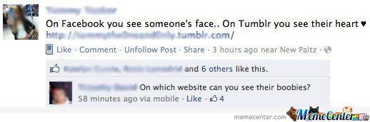 On Facebook you see someone's face.. On Tumblr you see their heart