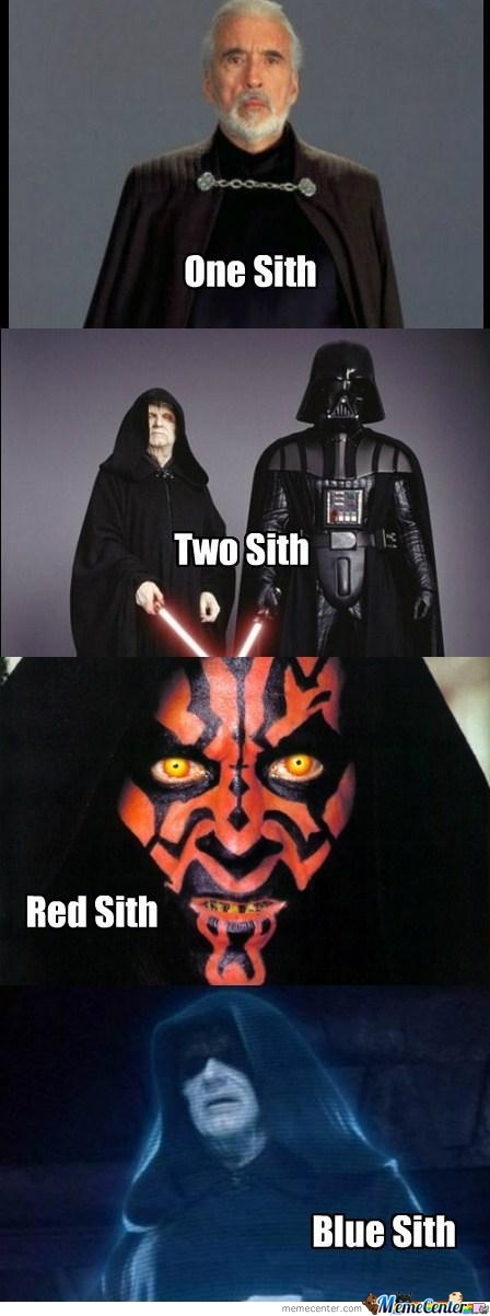 One Sith, Two Sith, Red Sith, Blue Sith