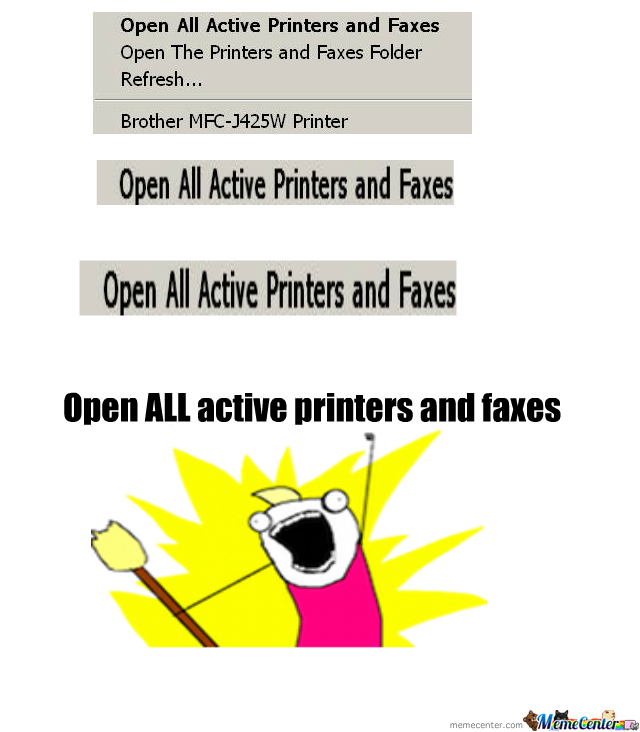 Open All Active Printers And Faxes
