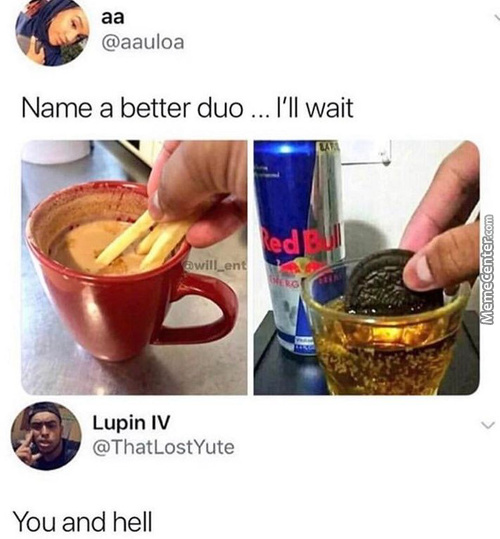Oreo's And Redbull? Fries And Wtf Is That