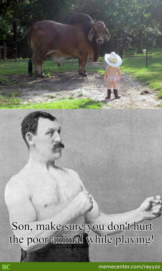 Overly Manly Man's Son Playing With His Pet