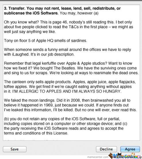 Page 46 Of The Terms & Conditions Of The Apple Ios 7 Update