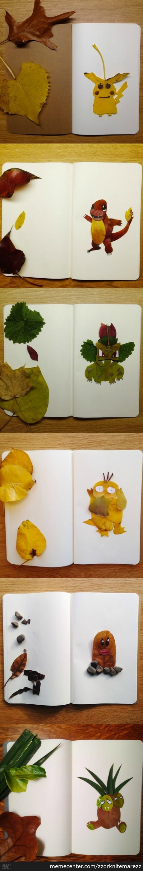 Pokemon Made Out Of Leaves And Stones.