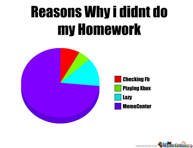 Reasons for not doing homework