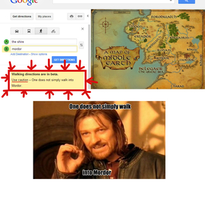 RMX] Google Maps Walking Directions, The Shire To Mordor by idolon on