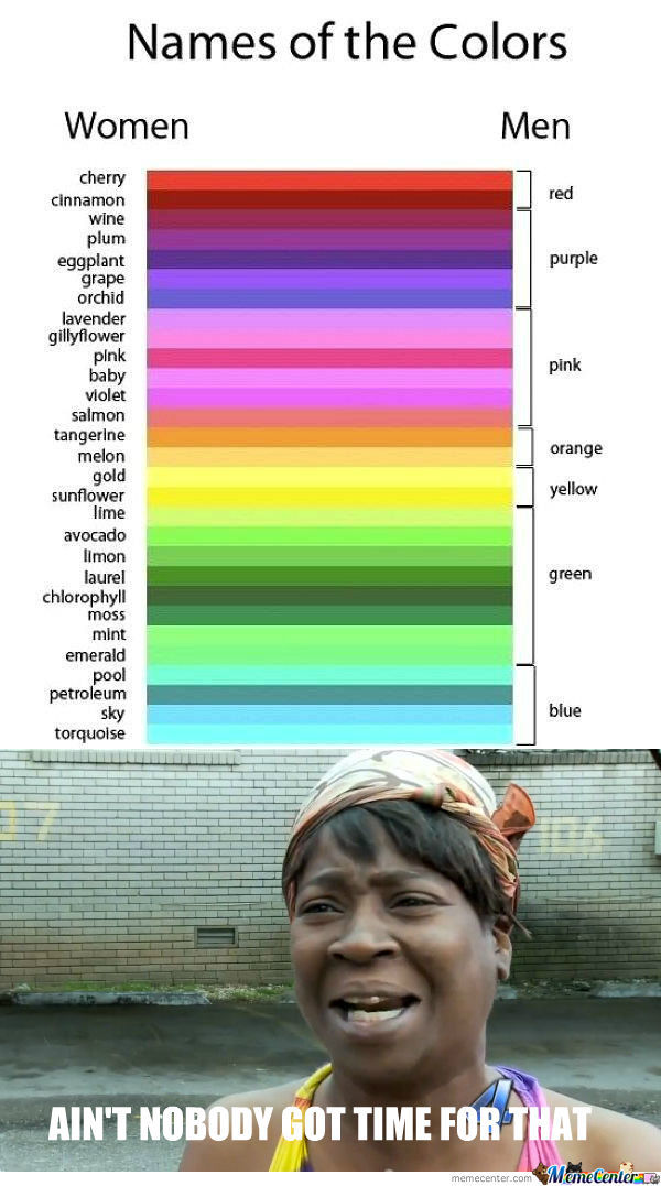 [RMX] Names of the Colors for Men & Women