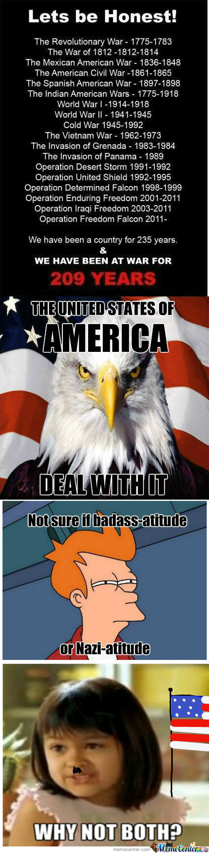 [RMX] [RMX] [RMX] Americans - We Have Been A Country For 235 Years & Whe Have Been At War For 209 Years
