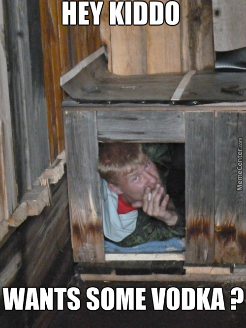 Russian Hiding His In Russian Crate Smoking Russian Cigarette With Russian Vodka