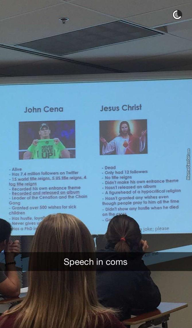 Saw This On Reddit, A Guy Comparing John Cena And Jesus On Lesson