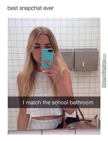 She Really Does Match The Bathroom.