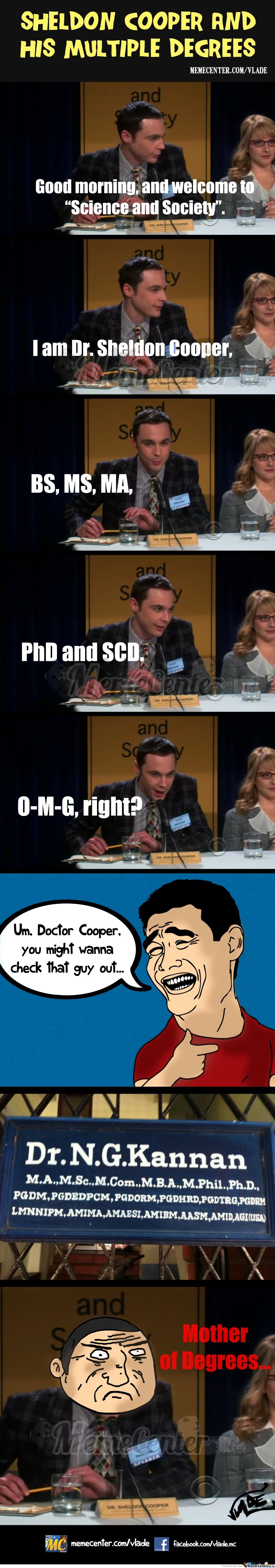 Sheldon Cooper And His Degrees
