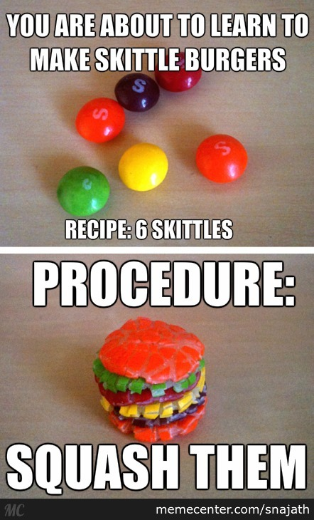 Skittle Burgers: Rainbow Puking Time!