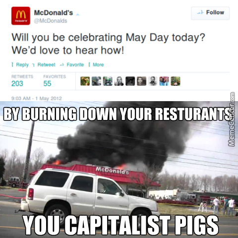 Someone At Mcdonalds Doesn't Know What May Day Is