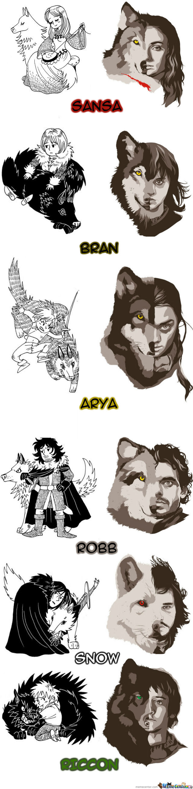 Starks And Their Wolves