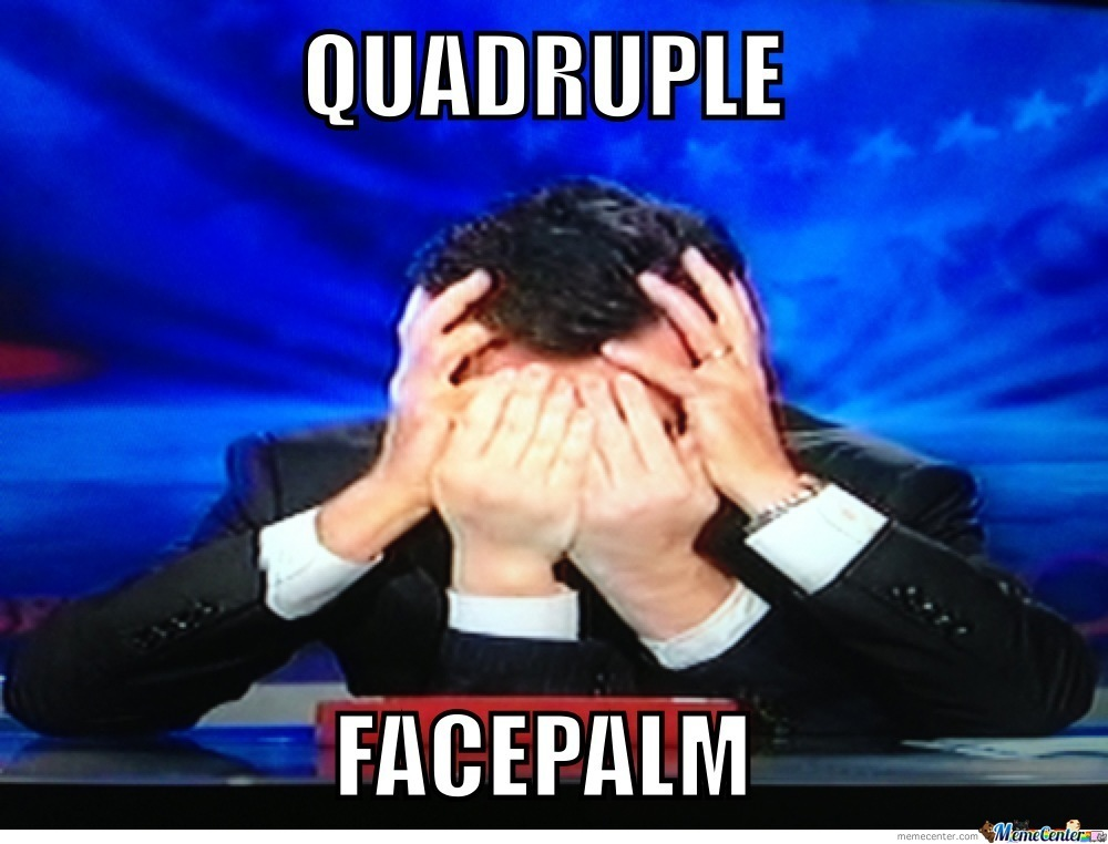 Stephen Colbert's Quadruple Facepalm
