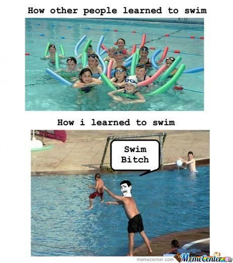 A meme showing two ways of learning to swim.