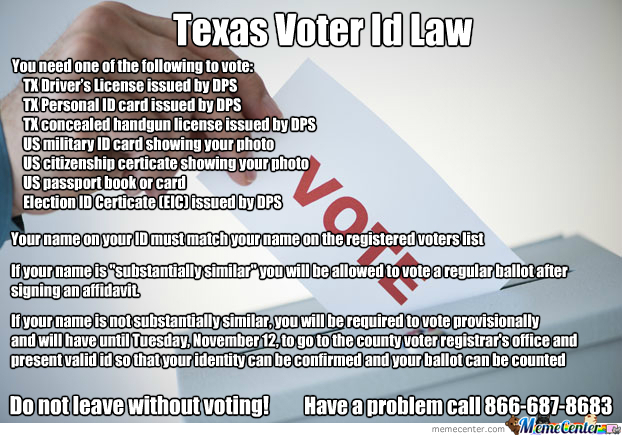 Law By Meme - Id Center Voter Michin70 Texas