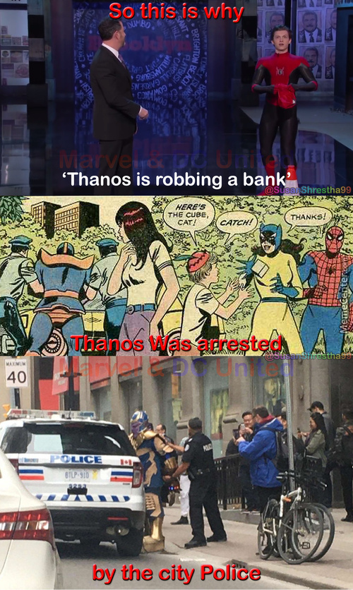 Thanos Is Robbing A Bank