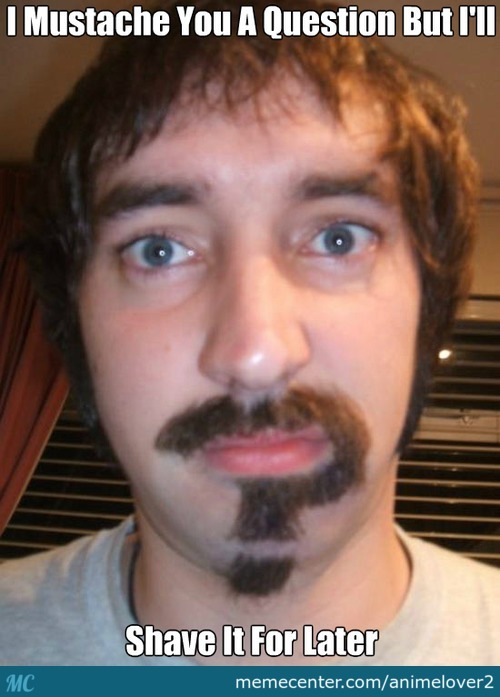 Thats A Punny Mustache You Have There Sir!!