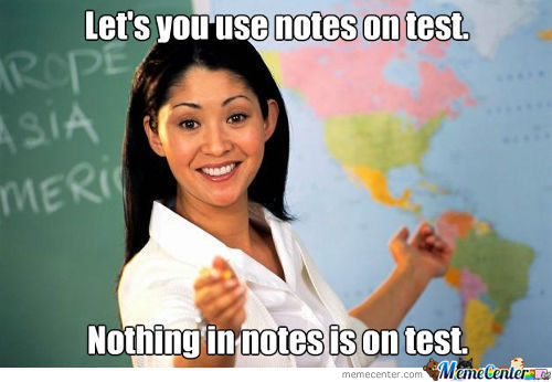 Lets you use notes on test