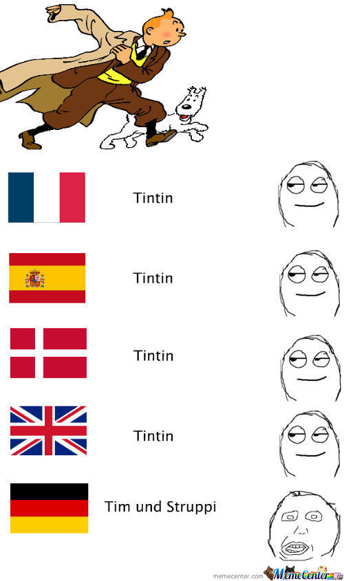 The Many Names For Tintin, Wait Germany? What Are You Doing!?