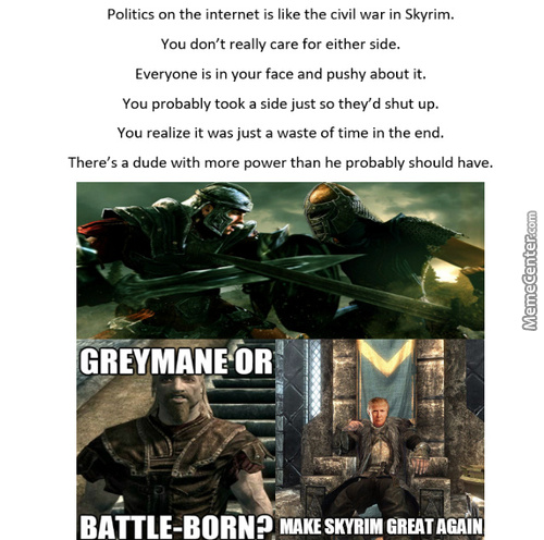 The Only Thing Skyrim Is Missing People Posting Passive Aggressive Normie Memes Thinking That