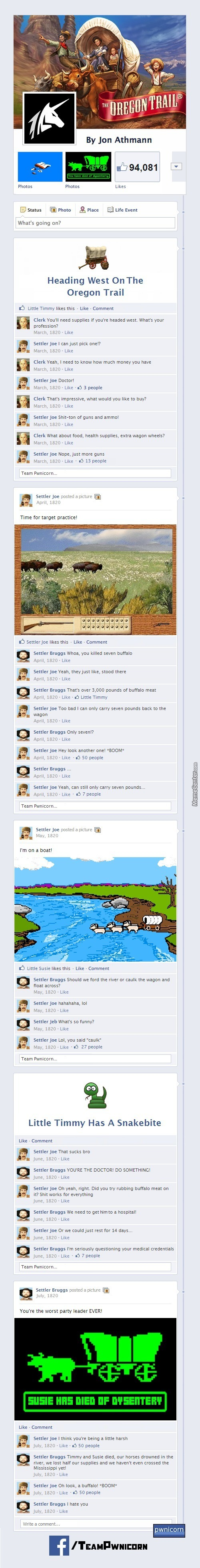 The Oregon Trail On Facebook
