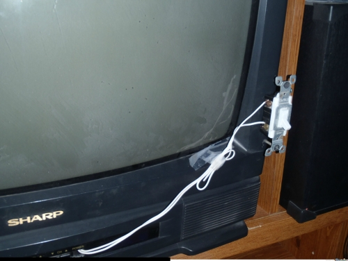 the power button on the tv broke. this is how my dad fixed it.
