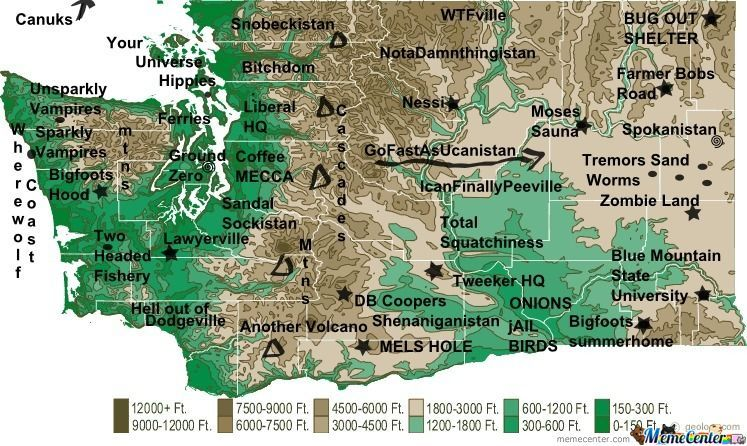 The Real Washington State Map by heather.L.crinean - Meme Center Map Of Washington State on