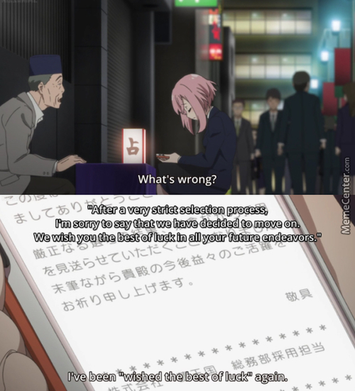 The Typical Response When You're Looking For A Job. (Anime: Sakura Quest)