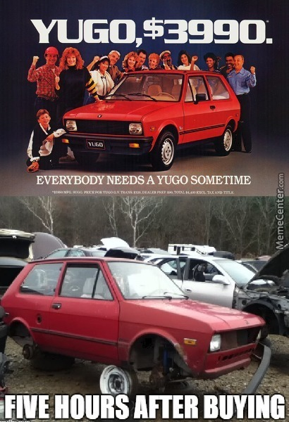 The Yugo The Car Worth Buying Only For Spare Parts By Kaoclya