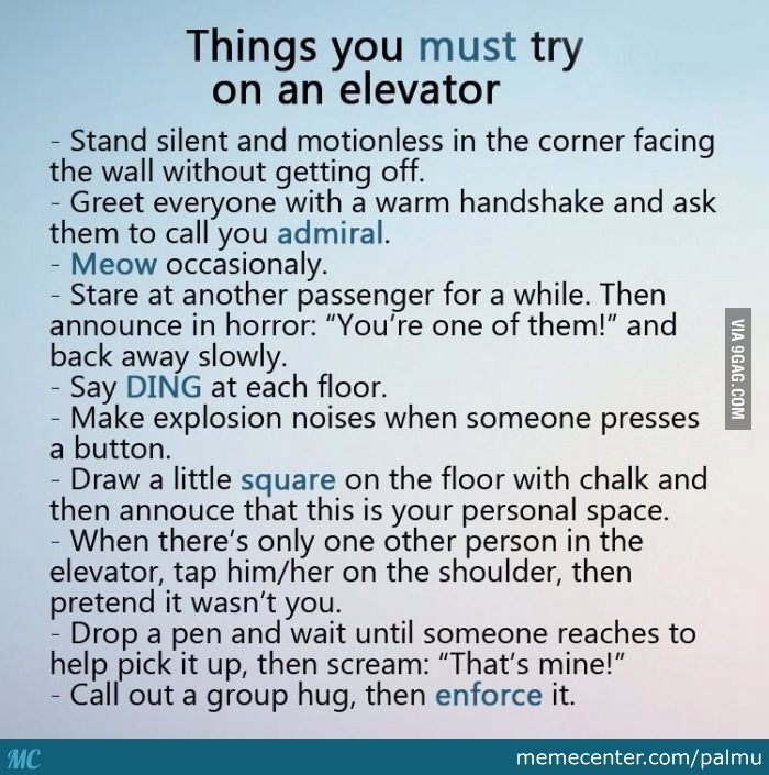 Things To Do In A Elevator