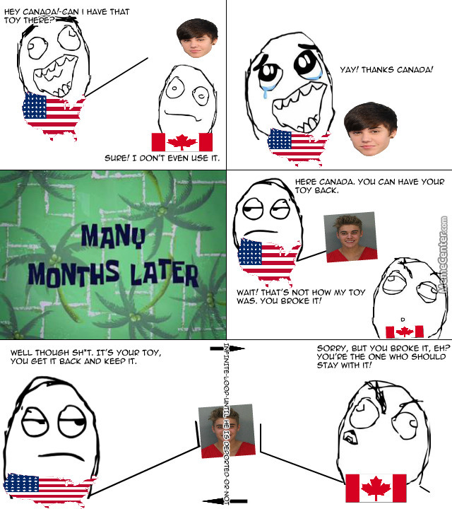 This Pretty Much Sums Up What Is Happening Between Usa And Canada About Bieber