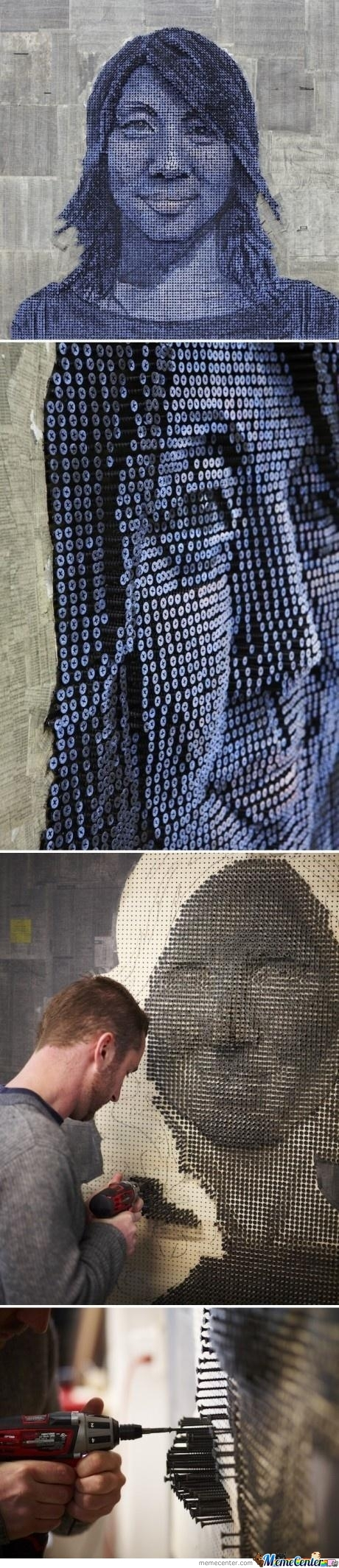 Thousands Of Screws Make A 3D Portrait
