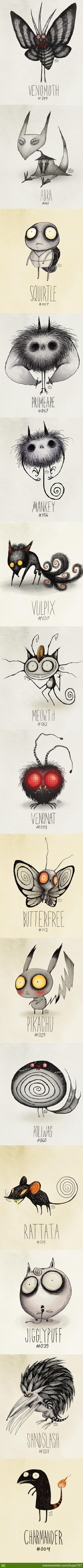 Tim Burton Inspired Pokemon Drawings