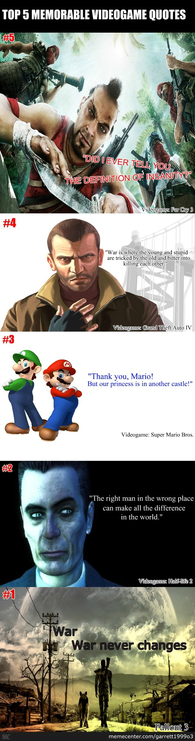 Top 5 Most Memorable Videogame Quotes By Recyclebin Meme Center