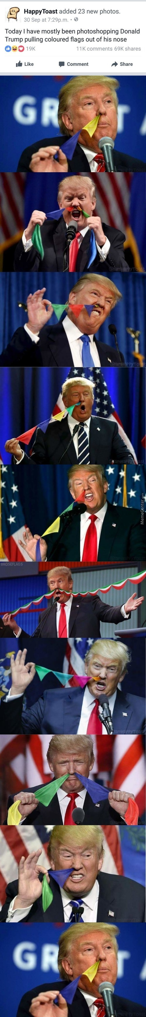 Trump Pulling Colored Flags Out Of His Nose