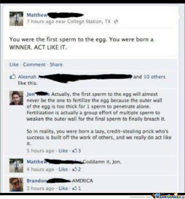 Truth Of Being The First Sperm