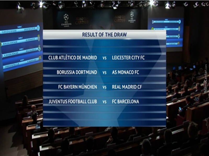 Uefa Champions League 16 17 Draw Of Quarter Final By Negergoose
